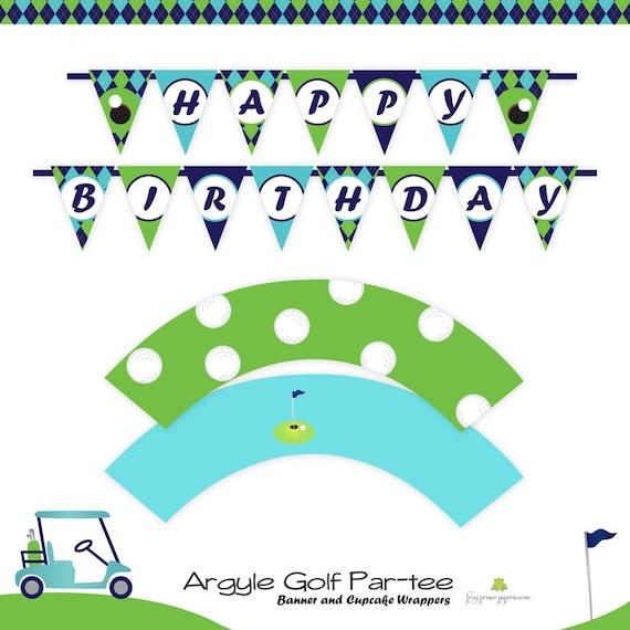 Golf Birthday Argyle Custom Printable Party - DIY