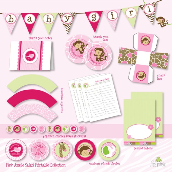 Pink jungle safari baby shower custom printable party pack for Baby shower decoration packs
