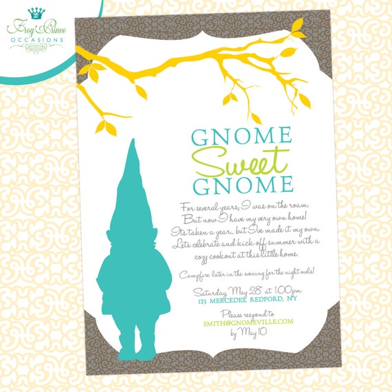 Gnome Sweet Housewarming Custom Invitation
