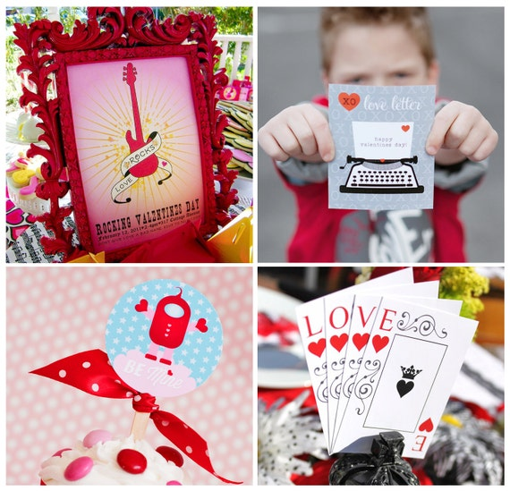 VALENTINE SUPER SALE - 4 Printable Party Packs for 16 Dollars - Expires 2-14