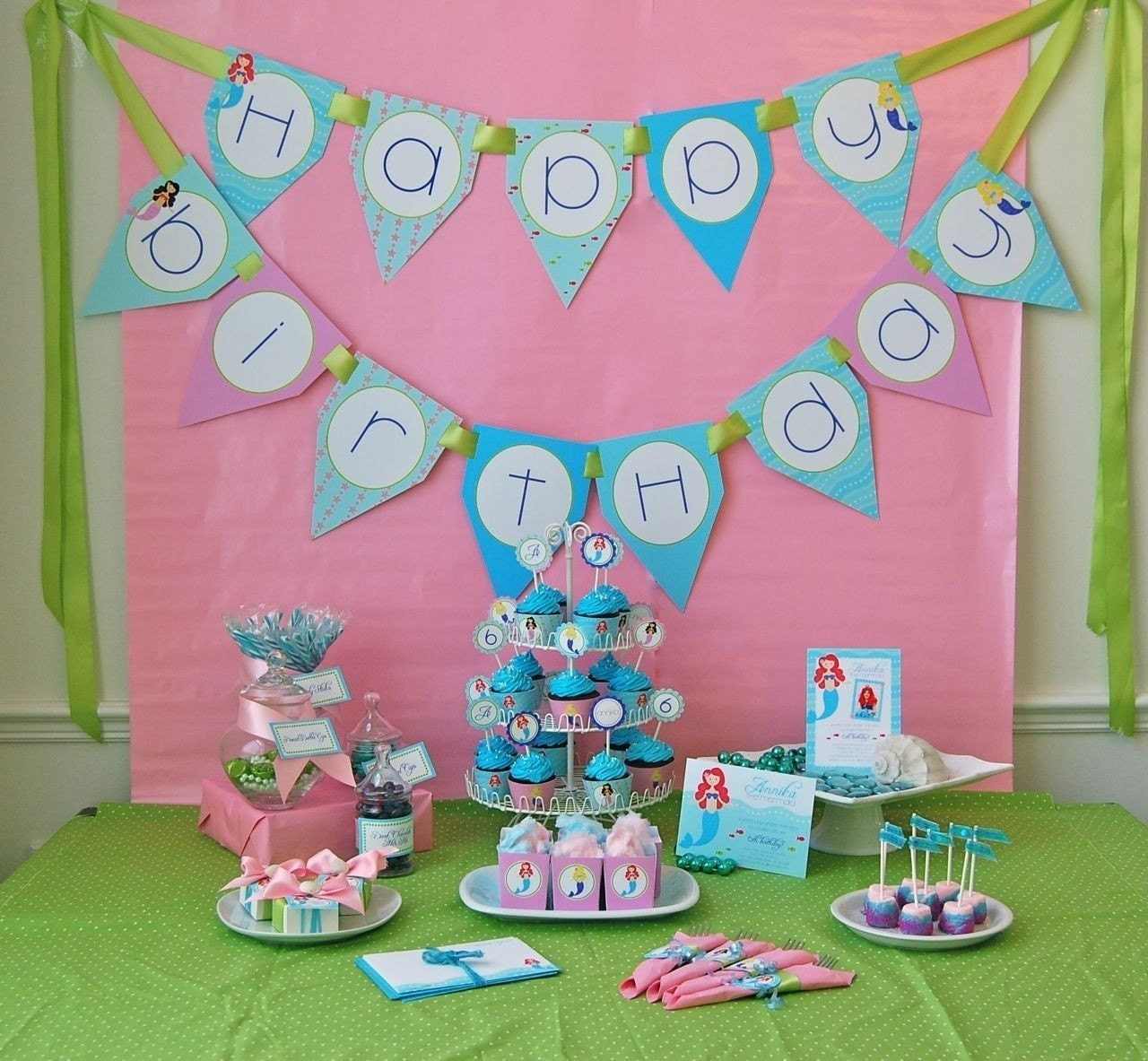 Little Mermaids Happy Birthday Banner DIY Printable