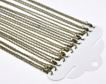 12pcs 18 Inch Antique Brass Necklace Chain - Necklace Wholesale Lot - 3mm x 2mm - Brass Necklace Findings - Bulk Necklace Chain Supplies A11