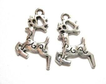 20pcs Silver Reindeer Charms - Christmas Charms - Reindeer Beads - Antique Silver Deer Charms - DIY Christmas Supply Gift  E50