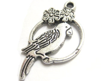 20pcs Wholesale Silver Charms - Silver Parrot Charm - Pirate Charms - Bird Beads - Parrot Pendants - Bird Charms E32