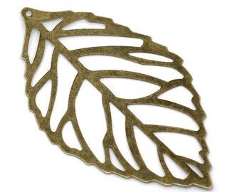 4pcs Antique Brass Leaf Charm Large Antique Bronze Filigree Leaf Pendant  54mm 086 - Wholesale Jewelry Supplies Bulk Lot Leaves Woodland