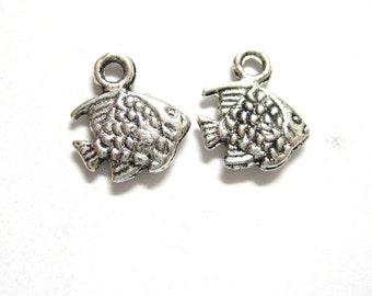 20pcs Tiny Angel Fish Charms Antique Silver - Miniature Goldfish Beach Charm - Wholesale Bulk Lot Small Charms E37