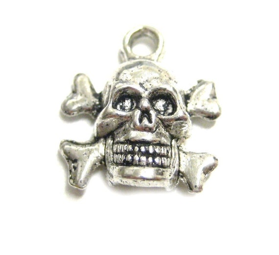 4pcs Skull Cross Bones Antique Silver Charms 151 - Pirate Jolly Roger Symbol Charms Beads - Death Bones Charms - Wholesale Bulk Lot Charms