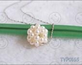 Hand-knitted Pearl Ball Pendant White for necklace earrings or bracelet etc