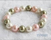 Swarovski Pearl Bracelet 10mm Multicolor Shell Pearl Elastic Bangle Jewelry Present to Young Lady and Fashion Girl