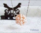 6pcs Real Hand-knitted Natural Freshwater Pearl Ball Pendant Pink 21mm for necklace earrings or bracelet etc