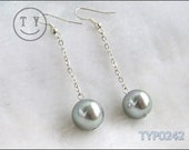 Shell Pearl Earrings 12mm Silver Grey 3 inch Long Type With 925s Hooks