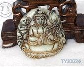 Natural Jade Hand-Graved Pendant  -------Mother Buddha Bring Baby
