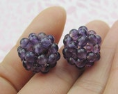 2pcs Hand-knitted Natural Amethyst Ball Pendant ,Bead Weaving Jewelry Findings for Necklace Earrings or Bracelet etc