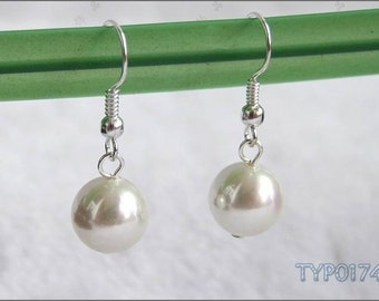 Swarovski Pearl Earrings 10mm Ivory White Shell Pearl Ear hooks Wedding Jewelry for Bride and Bridesmaids Bridal Party Presents