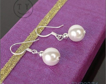Swarovski Pearl Earings 8mm White Shell Pearl Earrings with Sterling Silver hooks, Wedding Jewelry