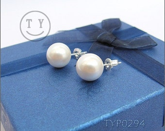 Swarovski Pearl Earrings 10mm White South Sea Shell Pearl Ear Studs With Sterling Silver Studs