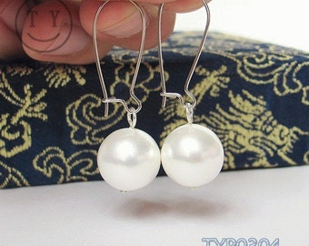 Swarovski Pearl Earrings 14mm White Gorgeous Shell Pearl Ear Dangles Circles Ear Drops Large Pearl Earings