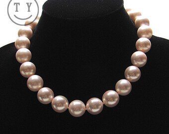 Swarovski Pearl Necklace Perfect Soutn Sea Shell Pearl Neck Chain 16mm Light Pink Swarovski Pearl Wedding Jewelry
