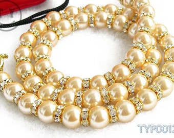 Free Shipping Charming Long Type 10mm Golden Pearl Necklace with Zircon-inlayed Spacers 25inch