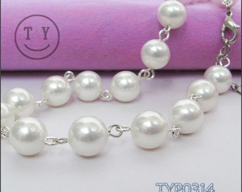 Free shipping Shell Pearl Necklace 10mm White 17inch Hook Link Chain