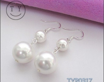 Swarovski Pearl Earrings 8mm & 14mm White with Sterling Silver hooks South Sea Shell  Hook Link Chain Wedding Jewelry for Bridesmaids