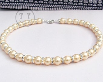Charming 10mm Golden Pearl Necklace with Zircon-inlayed Spacers