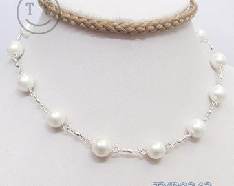Shell Pearl Necklace 10mm White 17inch Hook Link Chain