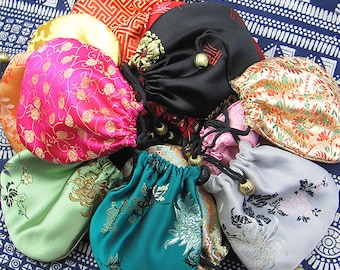30pcs Drawstring Handmade Colorful Silk Bags, Jewelry Bags, Chinese Traditional Coin Purses, Small Clutchs