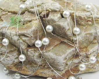 Long Type Gorgeous South Sea Shell Pearl Necklace, 8mm White Swarovski Pearl Beads Bunched with 55inch Thin Chain