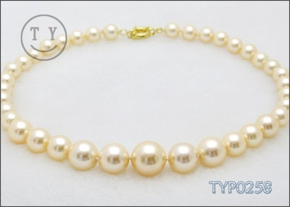 Swarovski Pearl Necklace 10-16mm Gradual Golden Shell Pearl Strand Wedding Jewelry for Brides and Bridesmaids
