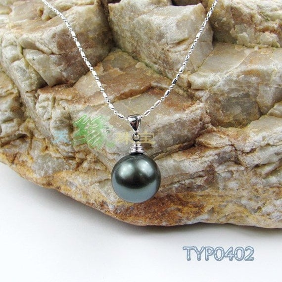 Peacock Black South Sea Shell Pearl Pendant Simple Style 16mm Atrovirens Swarovski Pearl Necklace(Include Chain)