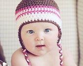 6 to 12 Month Earflap Hat in Fudge Topping