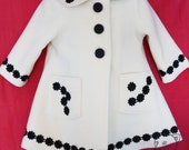 Kids Clothes Handmade - Girls swing jacket - girls white coat with black daisies size 12months LAST AVAILABLE