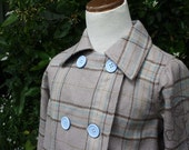 Boys Trench Coat- double breasted beige plaid