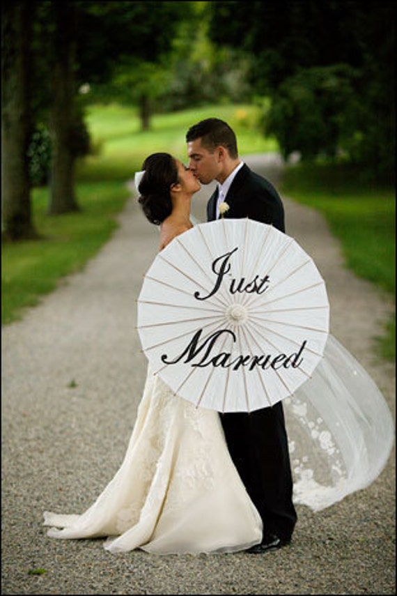 Just Married Or Thank You Wedding Parasol By Aik5016 On Etsy