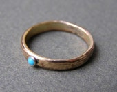 Goldfild ring with little turquoise size 6.5