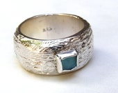 SALE - Recycled Silver ring with blue ocean quartz stone size 7