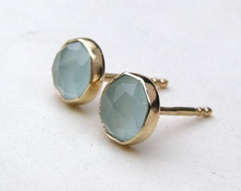 Gold earrings Aquamarine chalcedony Gold studs earrings  Recycled 14k yellow gold earrings stud post