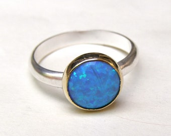 Blue Opal ring - 14k gold ring and silver ring Birthstone ring  gemstone Made to order