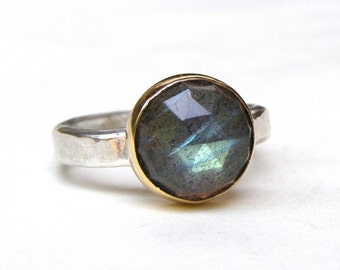 Birthstone Labradorite ring, 14k yellow gold ring ,silver ring, gemstone, statement Made to order