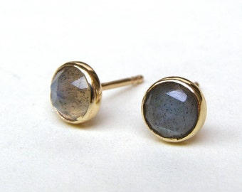 Gold Studs, Studs Earrings, gift for her, Labradorite Earrings, Solid 14k Gold earrings Gray Labradorite 14k yellow studs ,Handmade earrings