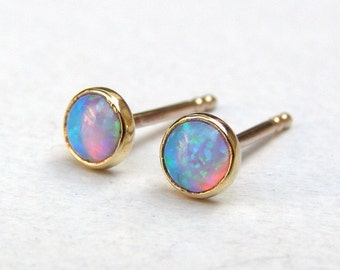 Opal Studs Earrings, 14k Solid gold Earrings, Opal Studs, Opal Earrings, Handmade stud Earrings, Girl's gift, birthday gift, mom gift
