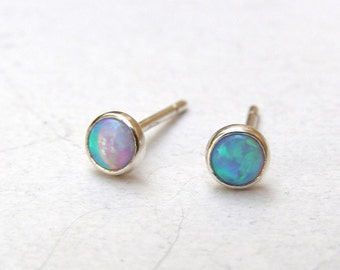 Opal  Earrings,Blue Opal studs, silver sterling Earrings 3mm, Birthday gift, girls gift, Gift for her, Silver studs, October stone