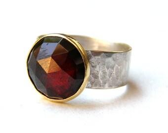 Red Garnet ring, Hammerd ring, Garnet stone ,silver ring , Gold and silver ring, Statement ring, Birthday gift, Birthstone ring