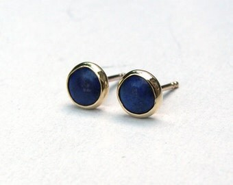 Gold Stud Earring- Stud Earrings- Lapis lazuli Earrings- Silver Stud Earrings- Lapis lazuli Studs- Stone Stud, 4mm stone earrings