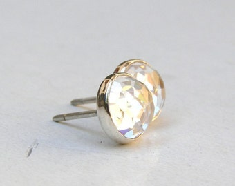 Fine Silver earrings white Topaz silver studs post earrings Similar diamond earrings studs  8mm - Gift for teacher