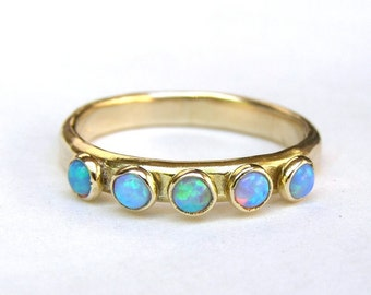 Blue Opal ring , Fine gold ring, Stacking ring , wedding bands ,14k gold ring ,Handmade engagement Ring, Anniversary Ring, gift for her