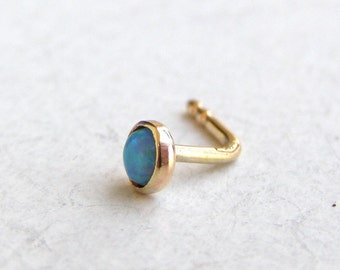 Nose stud - Nose ring 14k solid gold nose ring opal nose ring