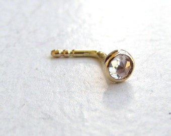 Fine gold Nose  stud - Nose ring 14k solid gold nose ring white topaz nose ring