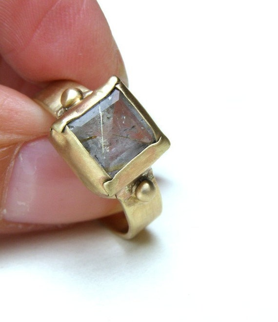 Engagement Ring Rutilated Quartz Ring 14K Gold Ring wedding ring size 7.5